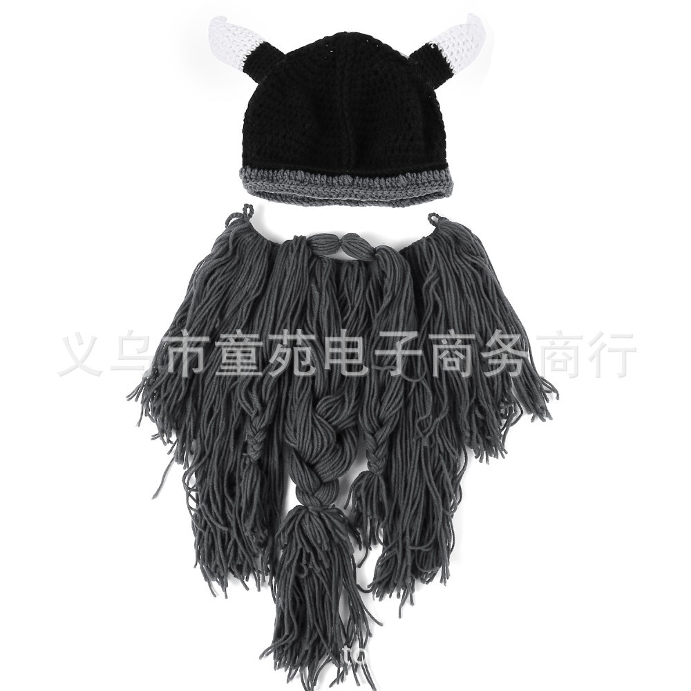 4722c1ae624 Explosion models Halloween personality Viking hat big beard hat horns hat  autumn and winter models gram weight 220G size 57-60CM