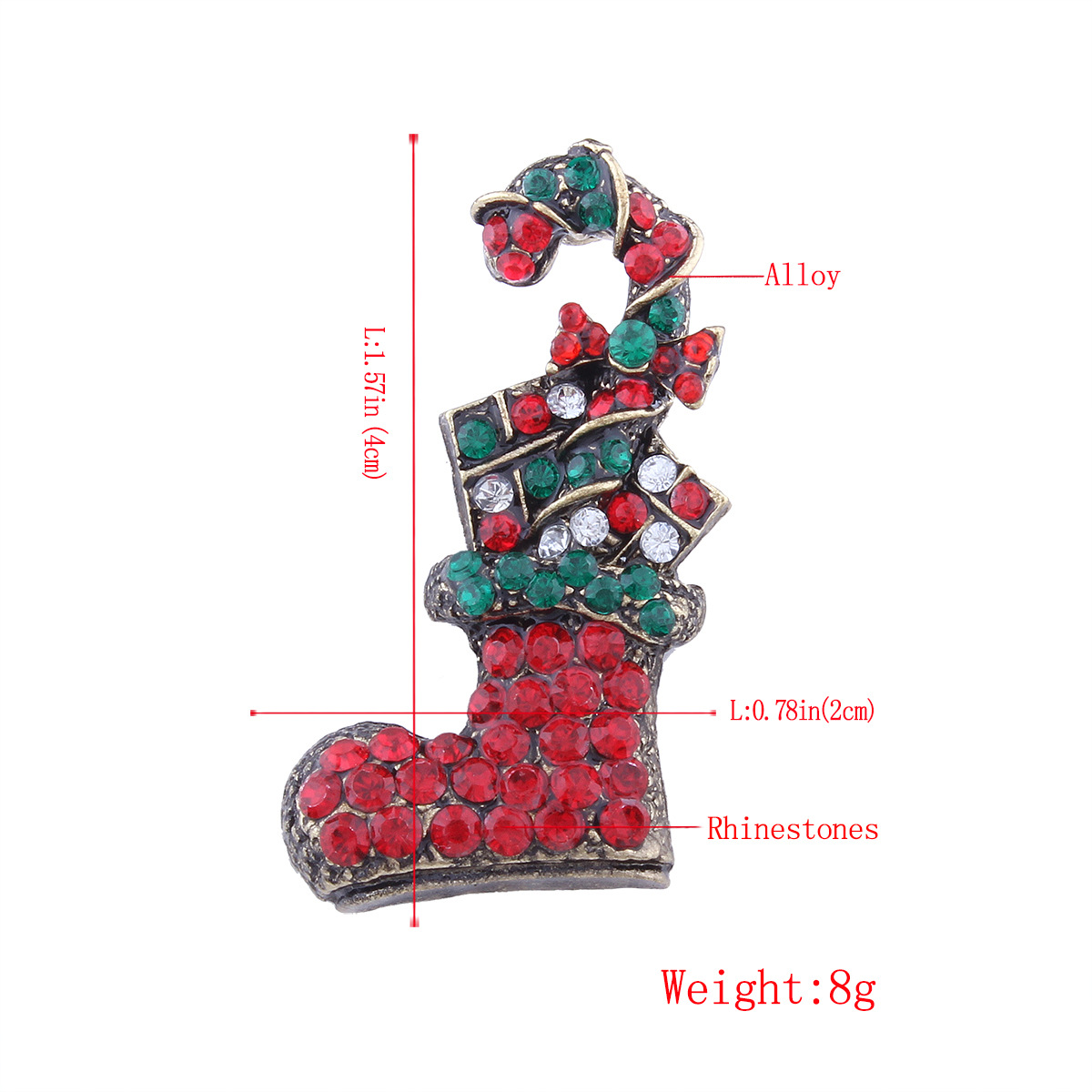 Occident and the United States alloy Diamond brooch (Christmas stocking)NHNMD3841-Christmas stocking