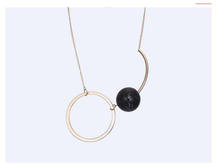 Alloy Fashion Geometric necklace  (Alloy + Black) NHTF0112-Alloy-Black