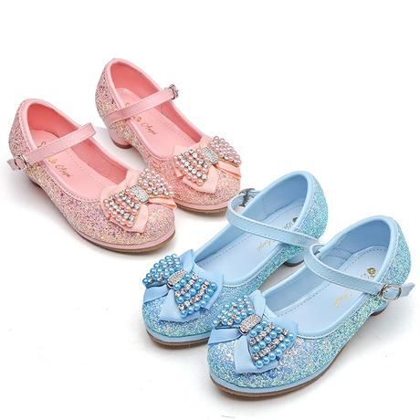 Giày cao gót cho trẻ em mùa xuân và mùa thu cô gái mới công chúa giày đơn trong trẻ em lớn sequin rhinestone rhinestone giày trẻ em Giày công chúa