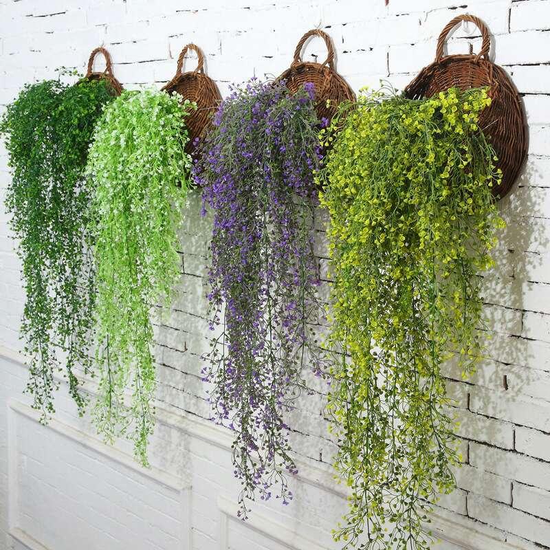 仿真花藝藤條花藤假花絹花金鐘柳壁掛客廳空調管道裝飾綠葉植