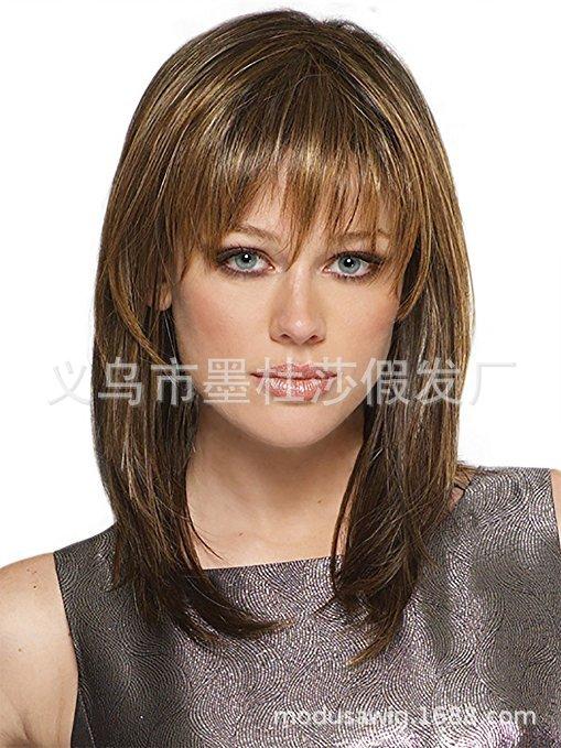 外贸斜刘海假发 欧美女士时尚混色中长直发 高级玫瑰网头套sw7625