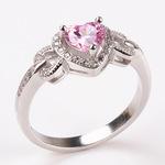 时尚心形微镶仿真钻戒 求婚女款戒指 熟女外贸款镀金指环