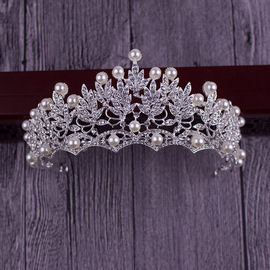 New bride crown wedding tiara wedding crown hair accessories pearl rhinestone crown
