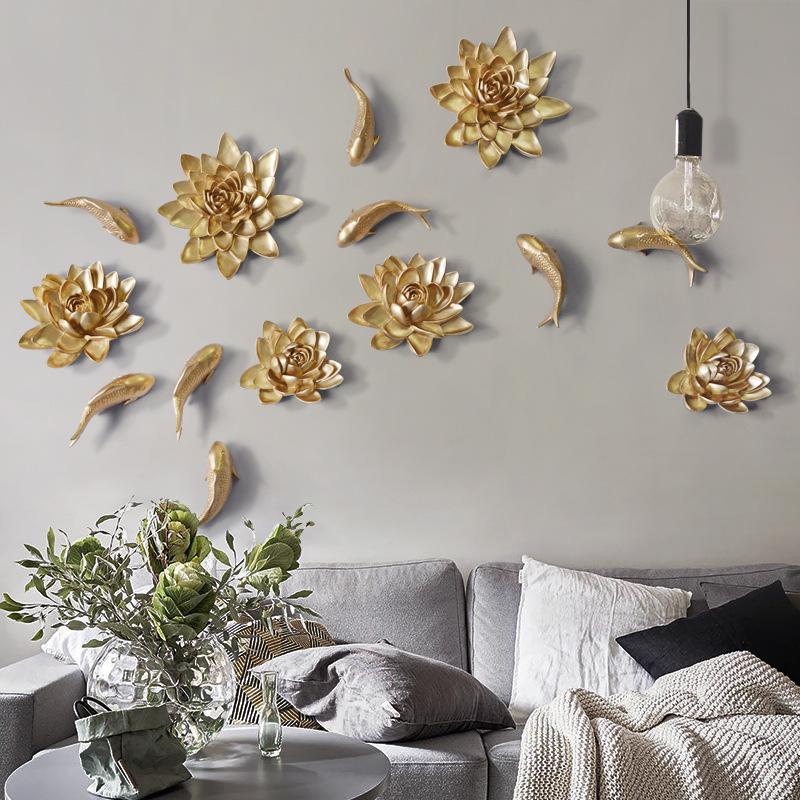 欧式创意树脂花朵壁饰立体墙面装饰品电视背景墙软装批发工艺品