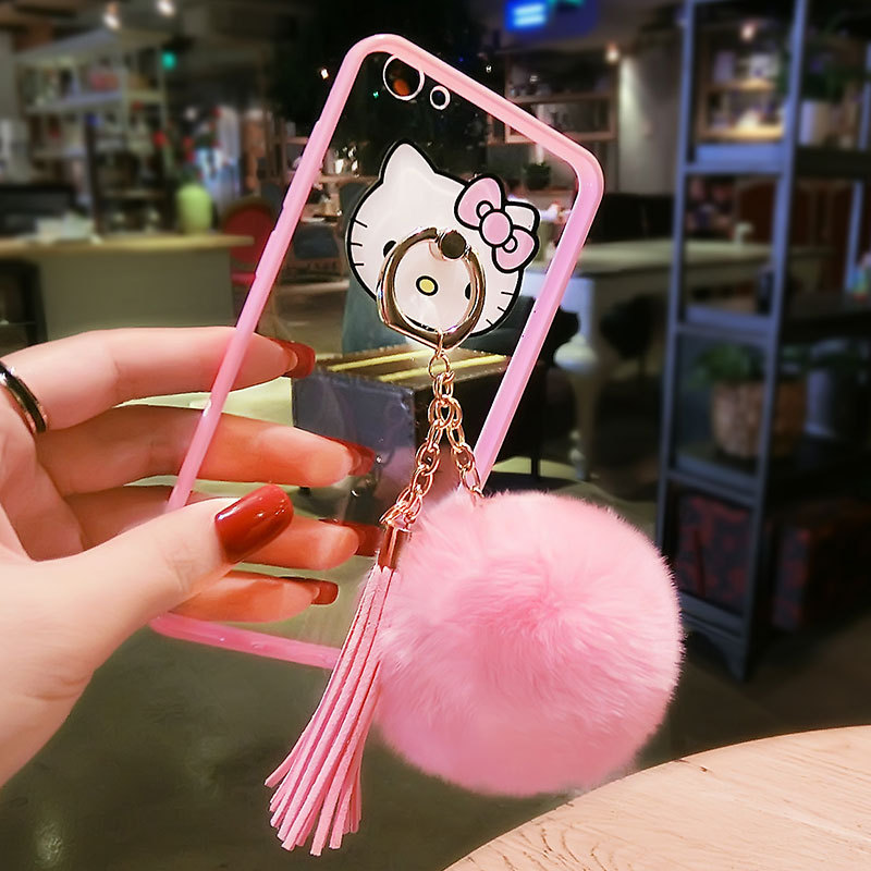 Fashion KT cat bracket X21 hair ball tassel R15 acrylic for iPhoneXR Apple 8plus phone case