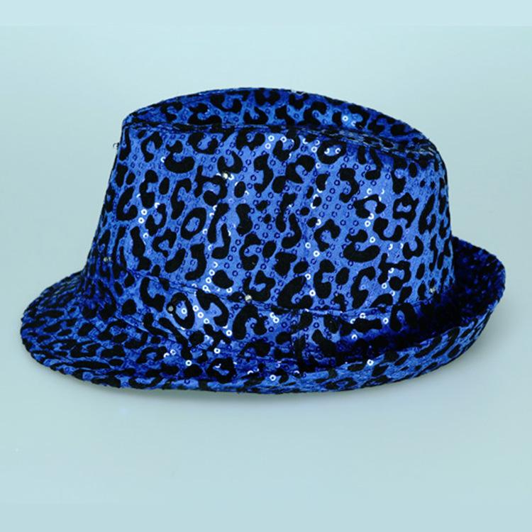 發光亮片爵士帽七彩閃光豹紋 舞臺表演發光光帽子可定制廠家批發