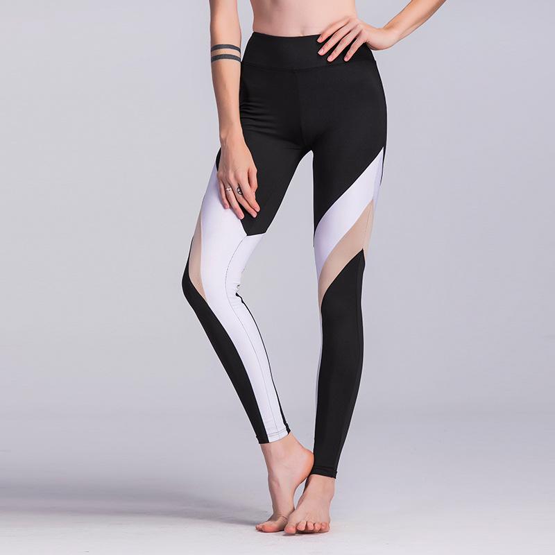 现货!新款速卖通ebay热销时尚拼接瑜伽裤运动打?#21331;?#32039;身健身裤