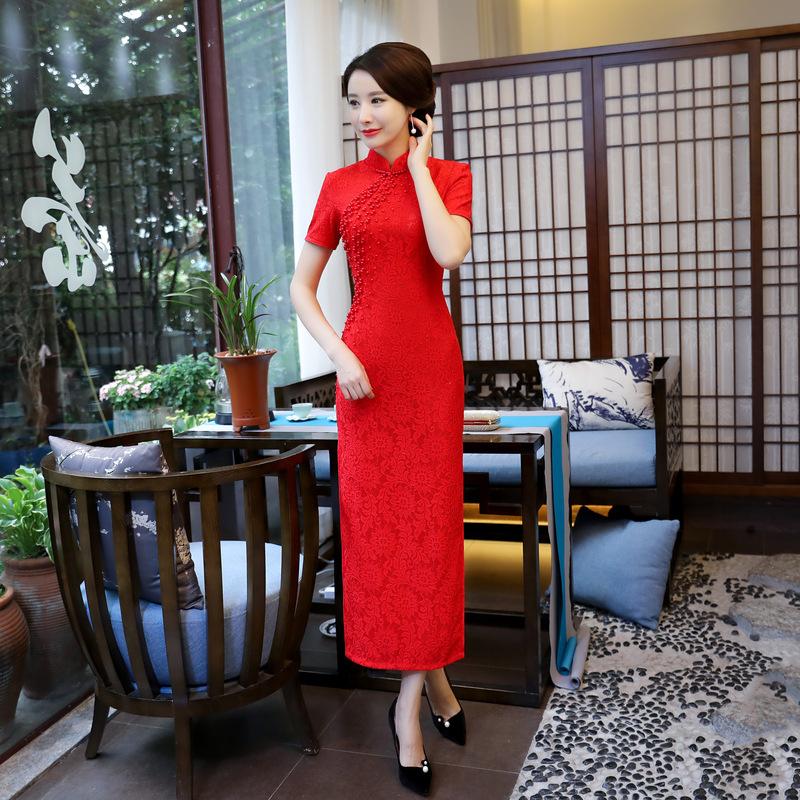 2017秋冬中式复古长款旗袍 气质修身中国风大红色旗袍 蕾丝旗袍批