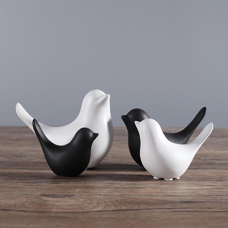 现代简约北欧简约黑色陶瓷小鸟抽象摆件软装家居样板房装饰品批发