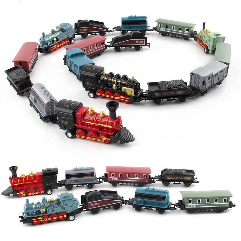 外貿英文版合金車模型復古蒸汽回力仿真火車兒童玩具車可隨意拼接