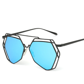 Men and women sunglasses irregular mesh color film sunglasses metal trend hollowed-out multilateral driver 1168
