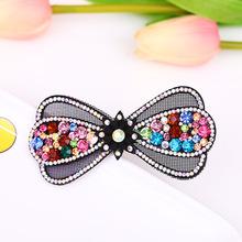 新款韩版时尚磨纱皮水晶彩钻头饰大发夹 卖萌发饰弹簧夹优雅女士