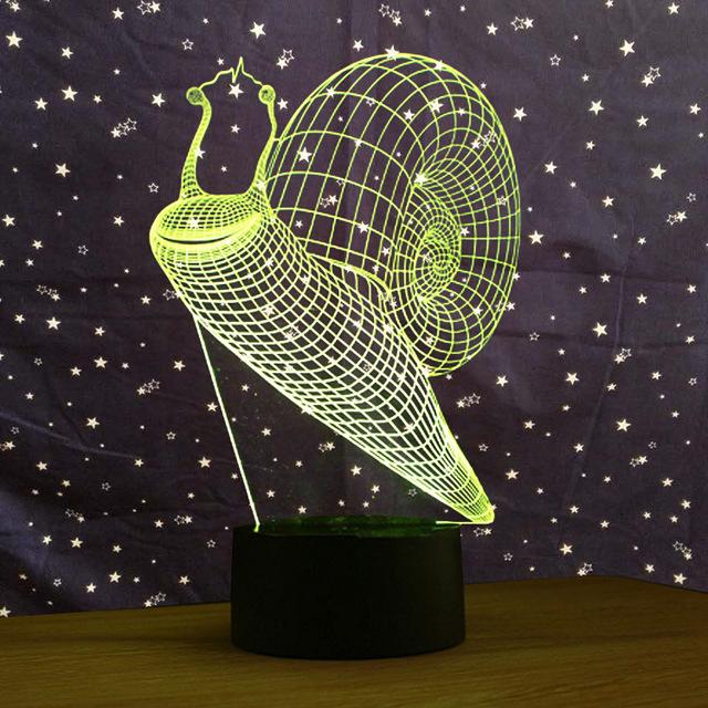 厂家直销 蜗牛 七彩3D小夜灯USB接口创意视觉灯触摸开关氛围艺术