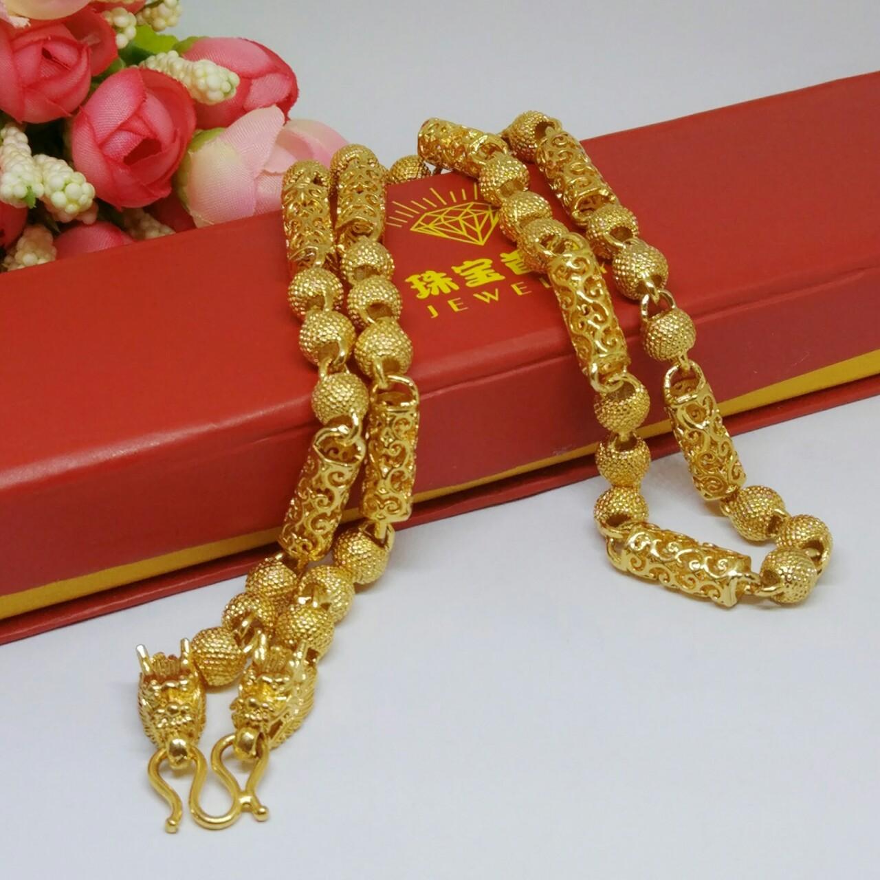 黄铜镀金佛珠龙头项链 男士越南沙金镂空龙链欧币 仿真金圆珠链
