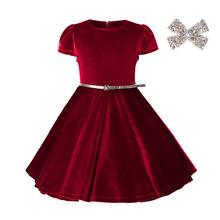 2017外貿新款童裝女童連衣裙中小童兒童高檔金絲絨禮服公主裙