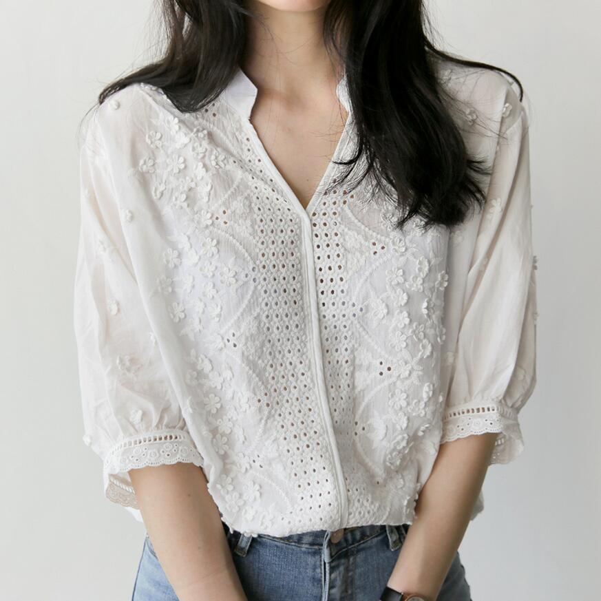 韩国东大门2018新款女装休闲女式衬衣刺绣宽松短袖女士衬衫 女