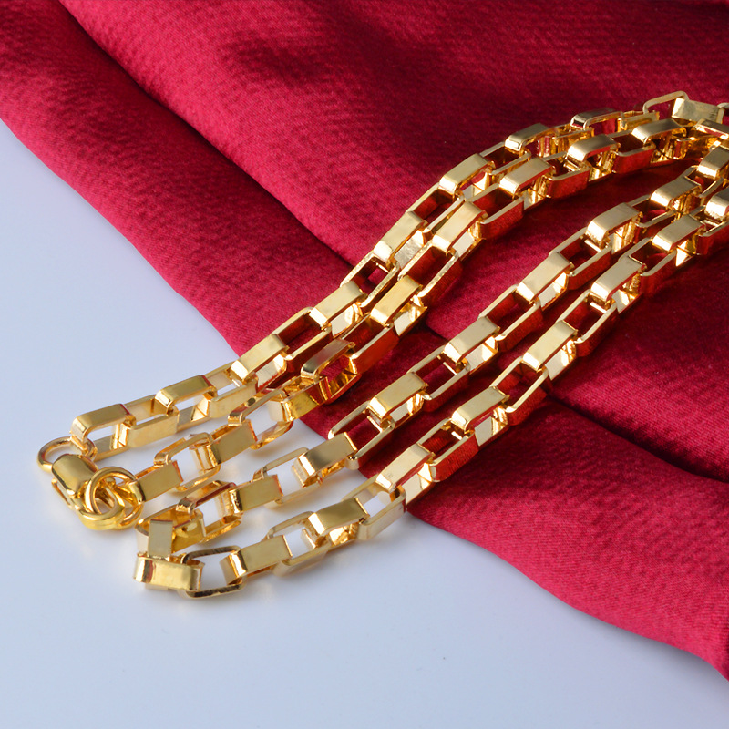"""High Quality MEN 18K Yellow Gold Plated Necklace 5mm Link Chain Necklace 20/"""""""
