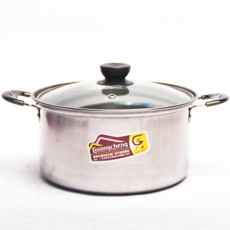 LA05 不锈钢双柄弧形奶锅 泡面汤锅火锅 家用煎锅 不粘锅锅具