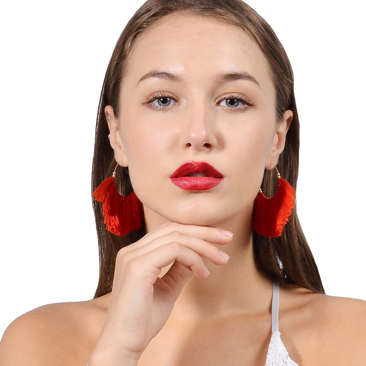Occident and the United States alloy plating earring (B0808 red)NHXR1457-B0808 red