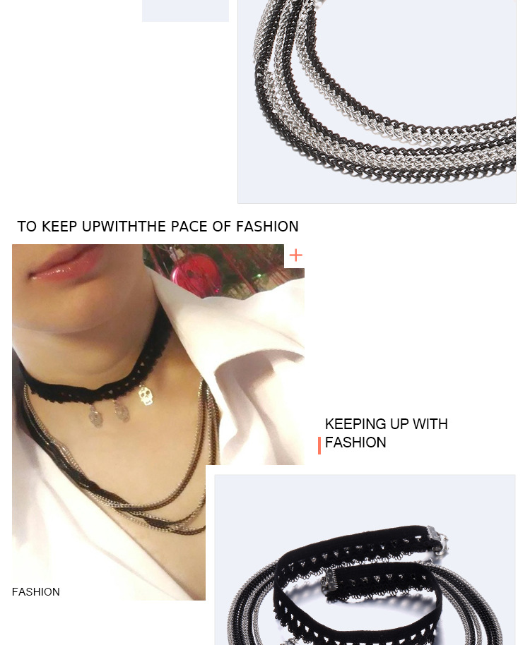 Alloy Fashion Geometric necklace  Alloy + black NHTF0004Alloyblack