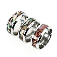 跨境专供欧美情侣戒指手环 新款时尚手饰镶真贝壳钛钢戒指批发