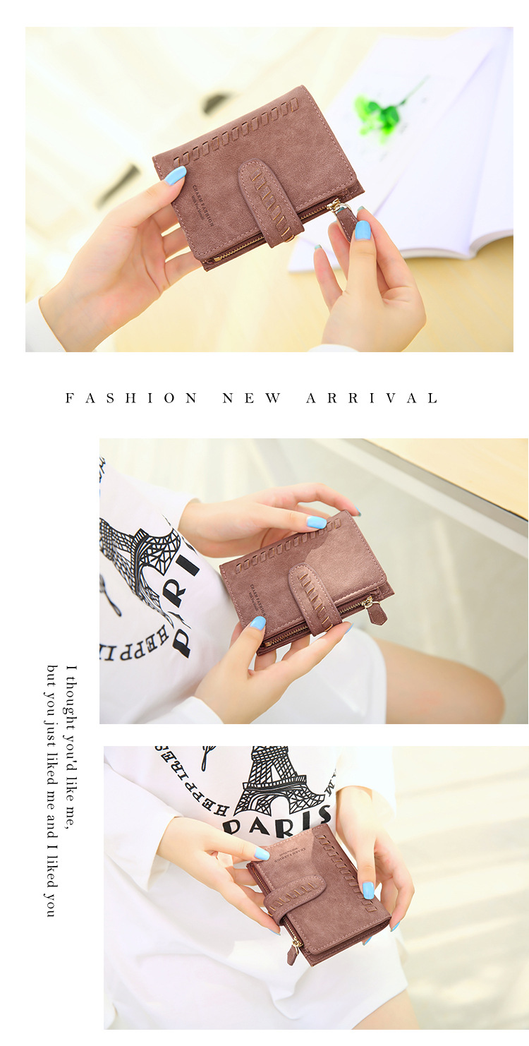 Korean version of the short matte solid color PU leather folding letter wallet NHNI144146