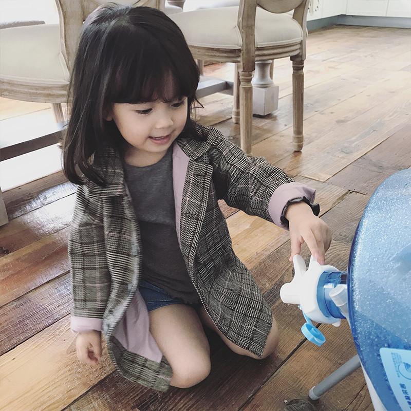 童装一件代发女童外套格子中长款大衣上衣20秋装新款外贸3-8岁