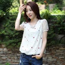 短袖女t恤新款女装夏装韩版网纱雪纺衫半袖上衣白色宽松