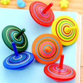 怀旧木制质小陀螺 桌面亲子玩具 彩色木质陀螺 婴幼儿童宝宝玩具