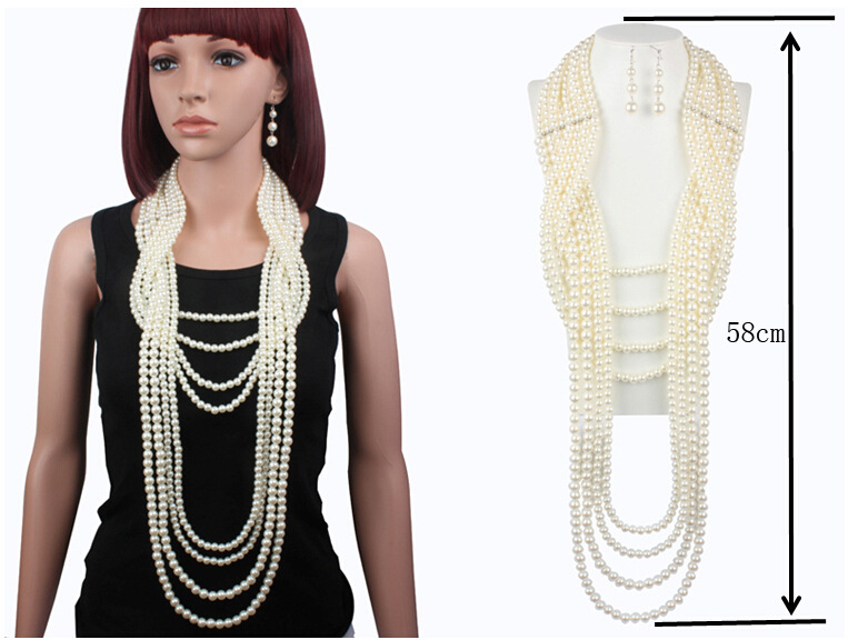 New exaggerated multilayer pearl necklace set long sweater necklace earrings set for women nihaojewelry wholesale NHCT214616