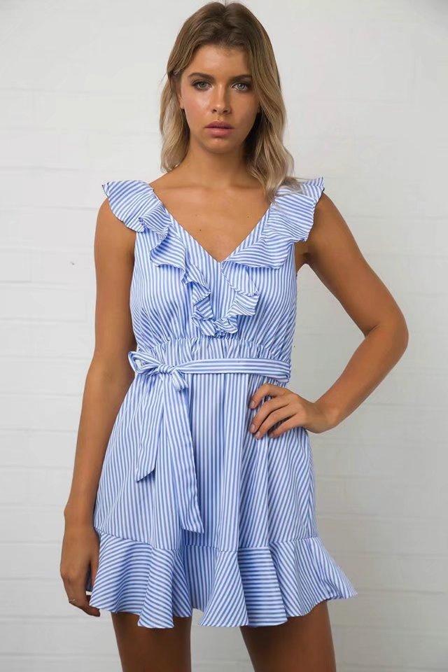 DeRuiLaDy 2017 Women summer Casual dress Ruffles V Neck Sleeveless high Waist Slim Blue Striped Dresses Sexy Backless Vestidos 4
