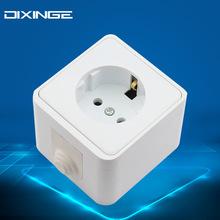 欧式德规明线盒 欧规德标接地三极墙壁电源插座 欧标明装德式插座
