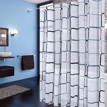 新款塑料浴帘PEVA加厚高档环保防水防霉多功能浴帘加铜扣黑白格子