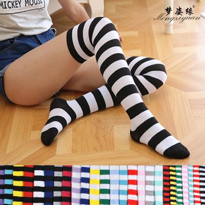 货源长筒袜女士 过膝袜日系 大腿袜子条纹高筒袜彩条袜地摊厂家批发批发