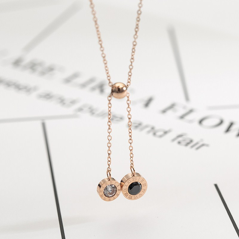 Simple Titanium steel plating necklace (Rose gold)NHIM0637-Rose gold