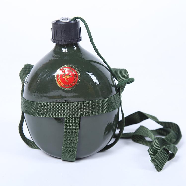 2019铝制水壶加厚军绿色65老式军训水壶户外野营1.5升容量水壶