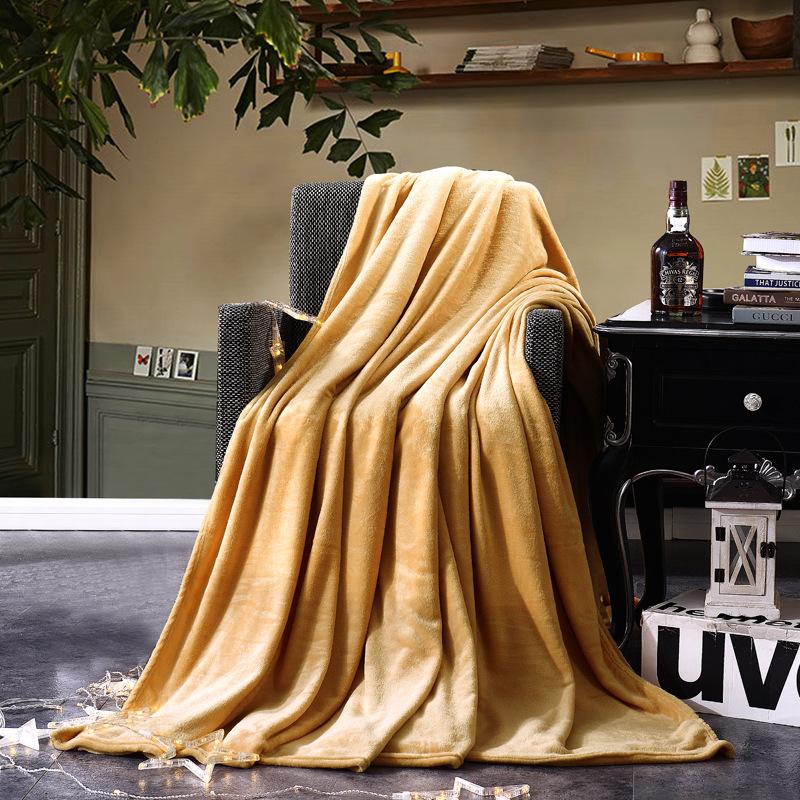 纯色夏季珊瑚绒薄毛毯法兰绒春秋双人床单办公室沙发午睡礼品毯子
