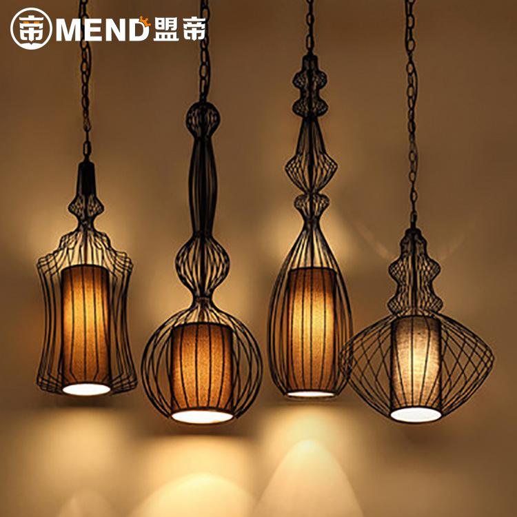 新中式铁笼子吊灯复古LOFT铁艺鸟笼灯具工业风茶楼咖啡厅酒店灯笼