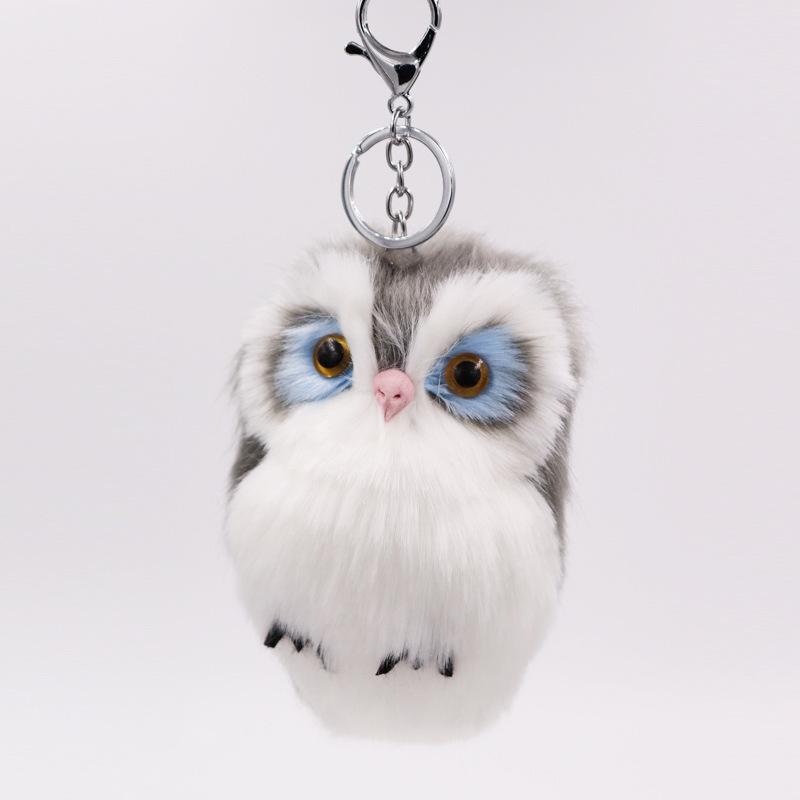 新款热销仿兔毛猫头鹰挂件 皮草包包汽车挂件可爱动物毛绒钥匙扣