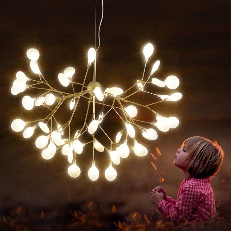 圆形萤火虫灯 北欧简约吊灯 金色客厅卧室餐厅后现代萤火虫吊灯