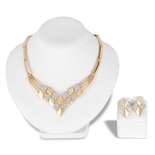 Hot-selling necklace set in Europe and America, luxury creative new diamond earring necklace two-piece set, one drop shipping
