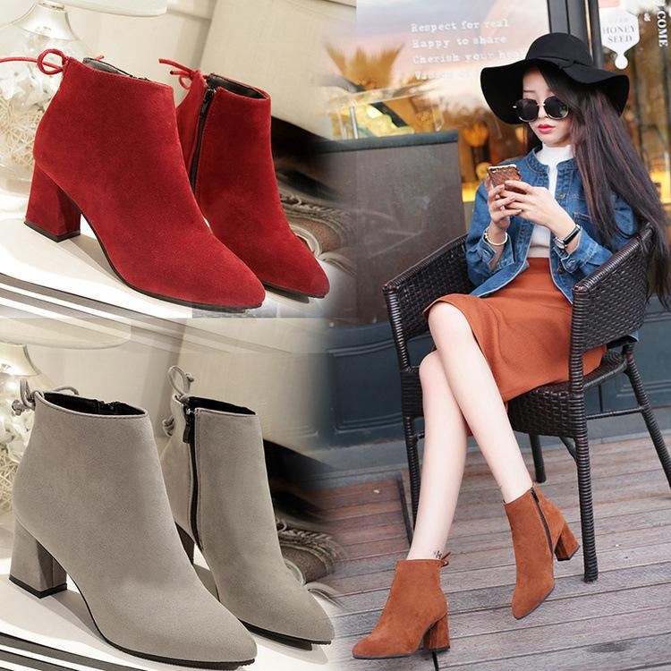 2018新款PU材質單靴女式 歐美風粗跟尖頭短靴 春秋黑色中跟馬丁靴