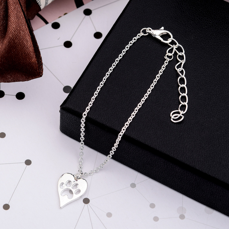 New Bracelet Hollow Love Peach Heart Bracelet Cute Cat Claw Dog Claw Footprint Palm Print Bracelet Anklet NHCU197211