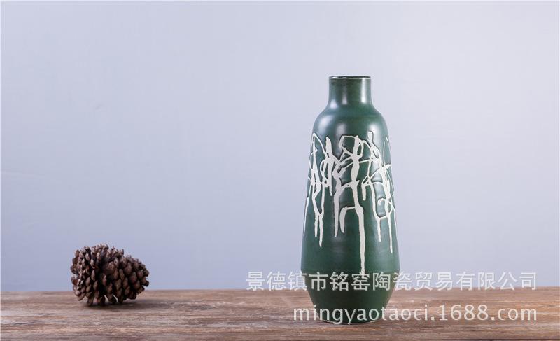 墨绿手刻乱线花罐 (5)