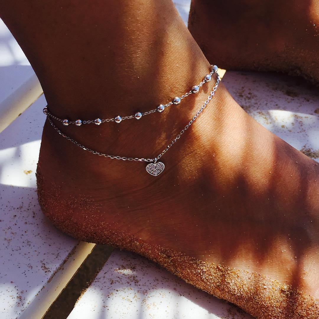 fashion jewelry supply wholesale cute peach heart love double anklet  NHAJ251759