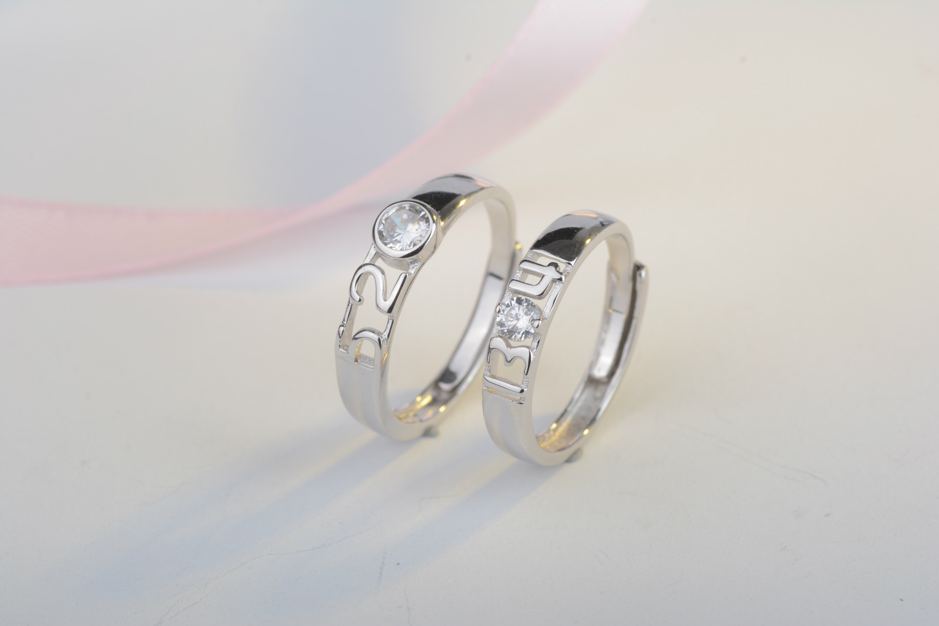 couple version footprints evermarker silver couples zwc of platinum engagement products plated rings az love