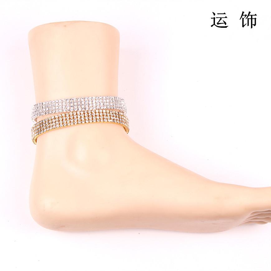 跨境亚马逊多排弹力水钻脚链女 新娘水晶脚踝链 wish速卖通ebay