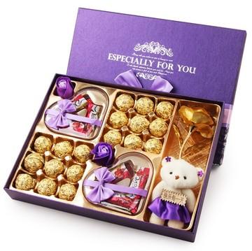 德芙巧克力礼盒装礼品装玫瑰花送女友七夕生日情人节礼物