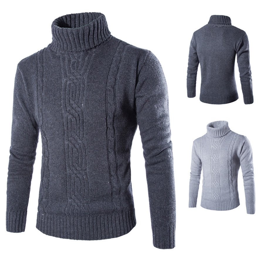 Quick sell men's men's high collar Lapel Pullover Sweater loose large solid color sweater men's bottoming shirt